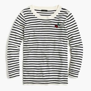 J. Crew Striped Tippi Sweater with Cherry Patch
